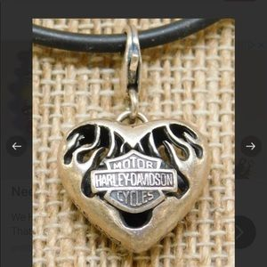 Harley Davidson 925 Sterling Heart Charm Necklace